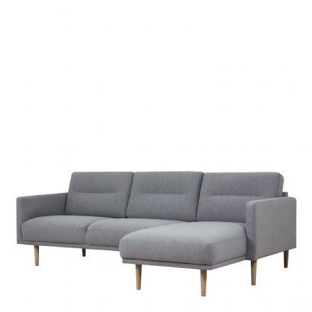 Larvik Chaiselongue Sofa in Grey with Oak Legs